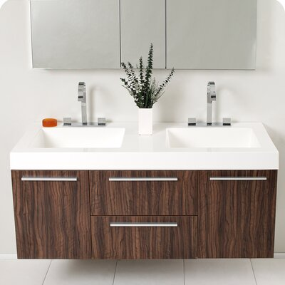 Senza Opulento 54 Double Bathroom Vanity Set with Mirror Base Finish: Walnut