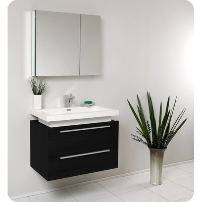 Senza Medio 31 Single Bathroom Vanity Set with Mirror Base Finish: Black