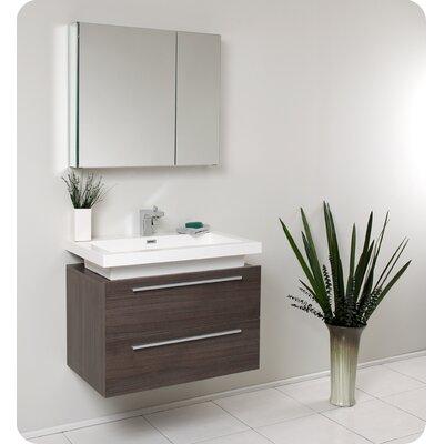 Senza Medio 31 Single Bathroom Vanity Set with Mirror Base Finish: Gray Oak