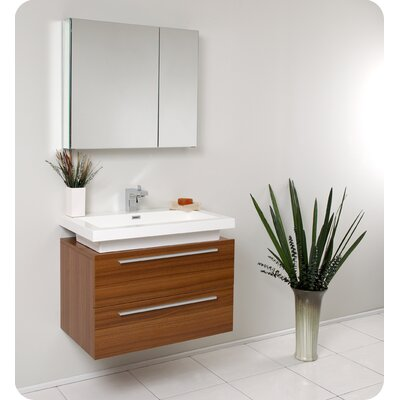 Senza Medio 31 Single Bathroom Vanity Set with Mirror Base Finish: Teak