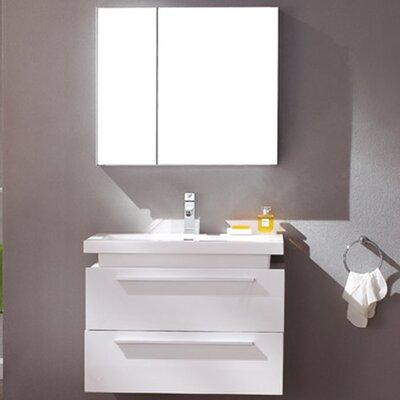 Senza Medio 31 Single Bathroom Vanity Set with Mirror Base Finish: White