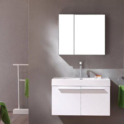 Senza Vista 36 Single Bathroom Vanity Set with Mirror Base Finish: White