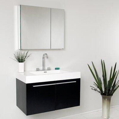 Senza Vista 36 Single Bathroom Vanity Set with Mirror Base Finish: Black