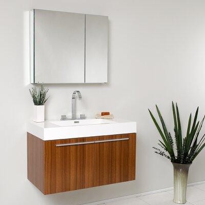 Senza Vista 36 Single Bathroom Vanity Set with Mirror Base Finish: Teak