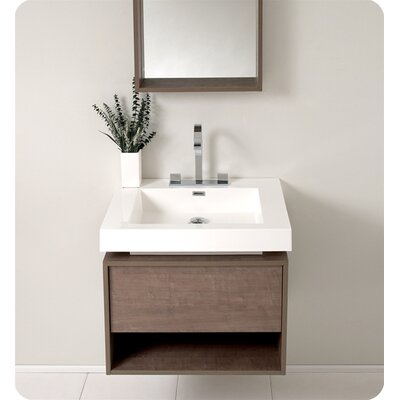 Senza 27 Potenza Single Modern Bathroom Vanity Set with Mirror