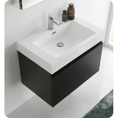 Senza 30 Mezzo Single Wall Mounted Modern Bathroom Vanity with Medicine Cabinet Base Finish: Black