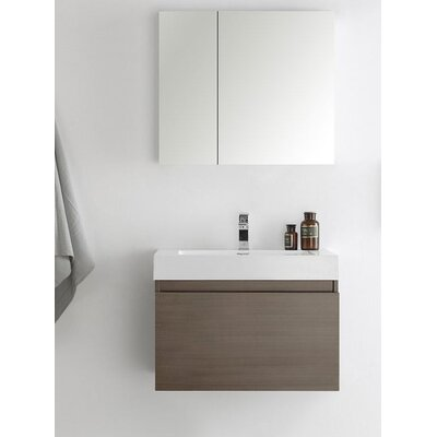 Senza 30 Mezzo Single Wall Mounted Modern Bathroom Vanity with Medicine Cabinet Base Finish: Grey Oak