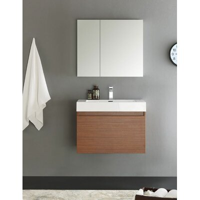 Senza 30 Mezzo Single Wall Mounted Modern Bathroom Vanity with Medicine Cabinet Base Finish: Teak