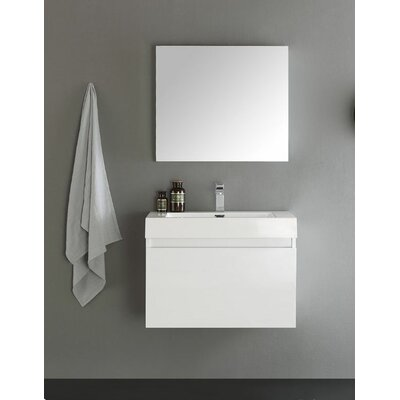 Senza 30 Mezzo Single Wall Mounted Modern Bathroom Vanity with Medicine Cabinet Base Finish: White