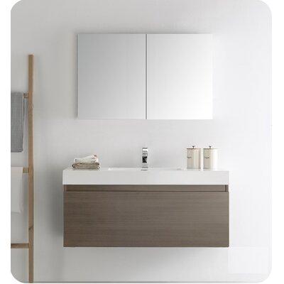 Senza 48 Mezzo Single Wall Mounted Modern Bathroom Vanity Set with Mirror Base Finish: Gray Oak