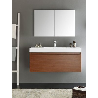 Senza 48 Mezzo Single Wall Mounted Modern Bathroom Vanity Set with Mirror Base Finish: Teak