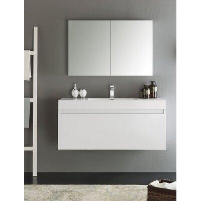 Senza 48 Mezzo Single Wall Mounted Modern Bathroom Vanity Set with Mirror Base Finish: White