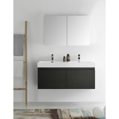Senza 48 Mezzo Double Wall Mounted Modern Bathroom Vanity Set with Mirror Base Finish: Black