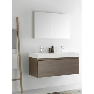 Senza 48 Mezzo Double Wall Mounted Modern Bathroom Vanity Set with Mirror Base Finish: Gray Oak