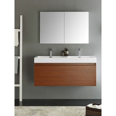 Senza 48 Mezzo Double Wall Mounted Modern Bathroom Vanity Set with Mirror Base Finish: Teak