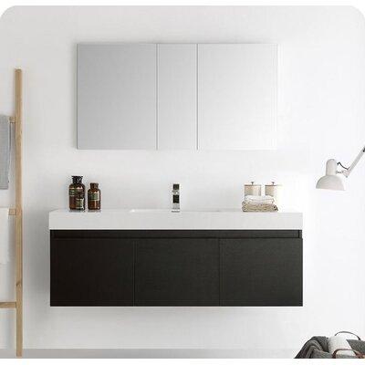 Senza 60 Mezzo Single Wall Mounted Modern Bathroom Vanity Set with Mirror Base Finish: Black