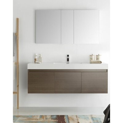 Senza 60 Mezzo Single Wall Mounted Modern Bathroom Vanity Set with Mirror Base Finish: Gray Oak