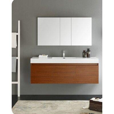 Senza 60 Mezzo Single Wall Mounted Modern Bathroom Vanity Set with Mirror Base Finish: Teak