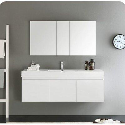 Senza 60 Mezzo Single Wall Mounted Modern Bathroom Vanity Set with Mirror Base Finish: White