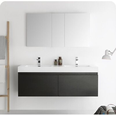 Senza 60 Mezzo Double Wall Mounted Modern Bathroom Vanity Set with Mirror Base Finish: Black