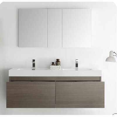 Senza 60 Mezzo Double Wall Mounted Modern Bathroom Vanity Set with Mirror Base Finish: Gray Oak