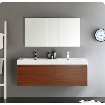 Senza 60 Mezzo Double Wall Mounted Modern Bathroom Vanity Set with Mirror Base Finish: Teak