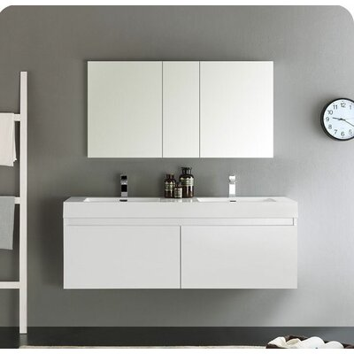 Senza 60 Mezzo Double Wall Mounted Modern Bathroom Vanity Set with Mirror Base Finish: White