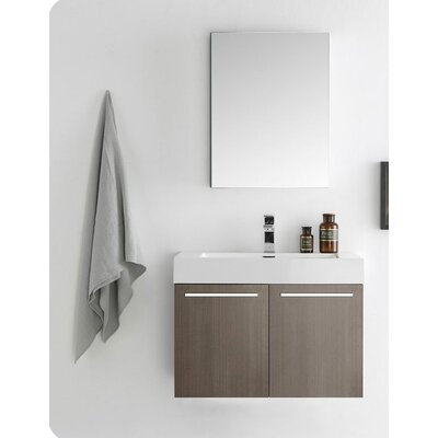 Senza 30 Vista Single Wall Mounted Modern Bathroom Vanity Set with Mirror Base Finish: Gray Oak