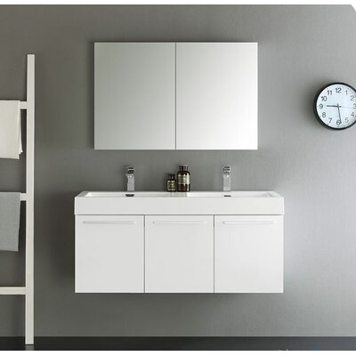 Senza 48 Vista Double Wall Mounted Modern Bathroom Vanity Set with Mirror Base Finish: White