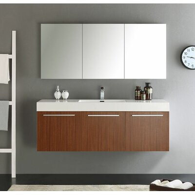 Senza 60 Vista Single Wall Mounted Modern Bathroom Vanity Set with Mirror Base Finish: Teak