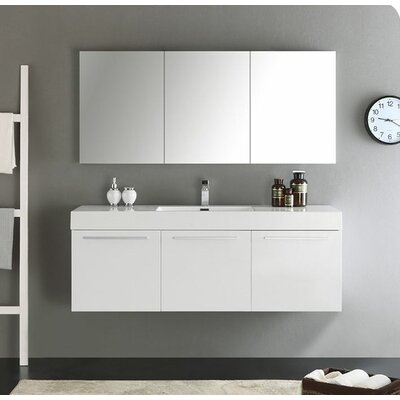 Senza 60 Vista Single Wall Mounted Modern Bathroom Vanity Set with Mirror Base Finish: White