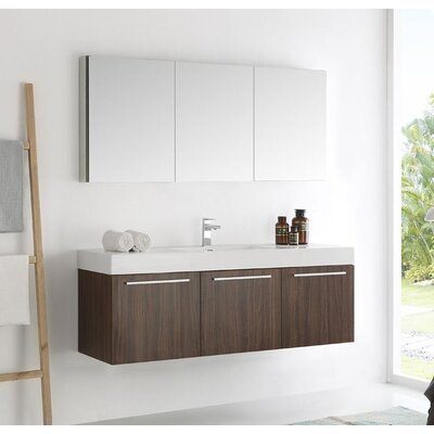 Senza 60 Vista Single Wall Mounted Modern Bathroom Vanity Set with Mirror Base Finish: Gray Oak