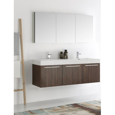 Senza 60 Vista Double Wall Mounted Modern Bathroom Vanity Set with Mirror Base Finish: Walnut