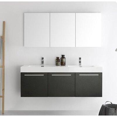 Senza 60 Vista Double Wall Mounted Modern Bathroom Vanity Set with Mirror Base Finish: Black