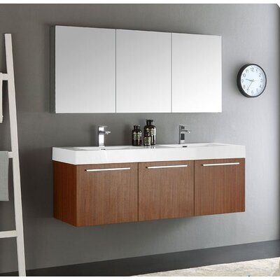 Senza 60 Vista Double Wall Mounted Modern Bathroom Vanity Set with Mirror Base Finish: Teak
