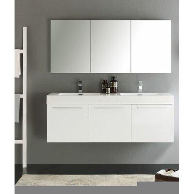 Senza 60 Vista Double Wall Mounted Modern Bathroom Vanity Set with Mirror Base Finish: White