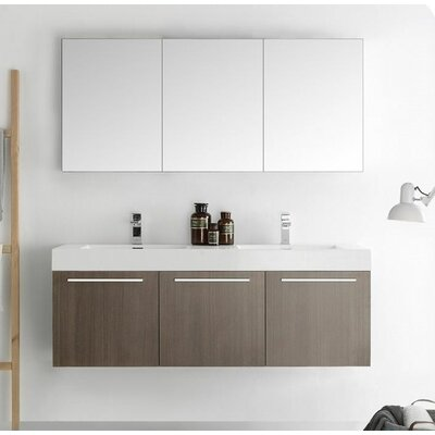 Senza 60 Vista Double Wall Mounted Modern Bathroom Vanity Set with Mirror Base Finish: Gray Oak