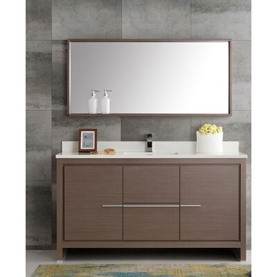 Trieste 60 Allier Single Modern Sink Bathroom Vanity Set with Mirror Base Finish: Gray Oak