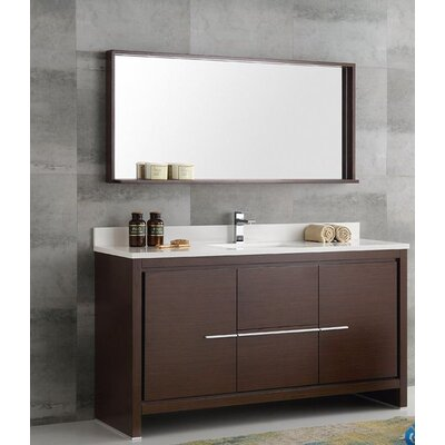 Trieste 60 Allier Single Modern Sink Bathroom Vanity Set with Mirror Base Finish: Wenge Brown