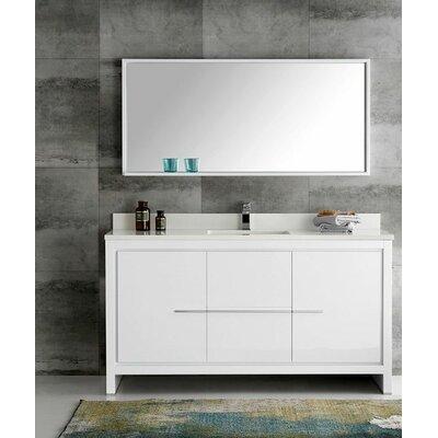 Trieste 60 Allier Single Modern Sink Bathroom Vanity Set with Mirror Base Finish: White