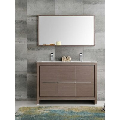 Trieste 48 Allier Double Modern Sink Bathroom Vanity Set with Mirror Base Finish: Gray Oak