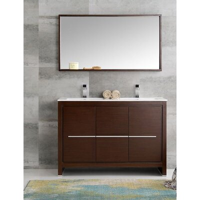 Trieste 48 Allier Double Modern Sink Bathroom Vanity Set with Mirror Base Finish: Wenge Brown