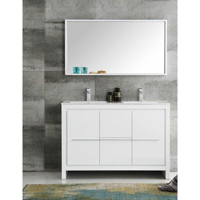 Trieste 48 Allier Double Modern Sink Bathroom Vanity Set with Mirror Base Finish: White