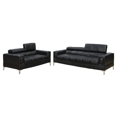 Lydia 2 Piece Sofa and Loveseat Set Upholstery: Black