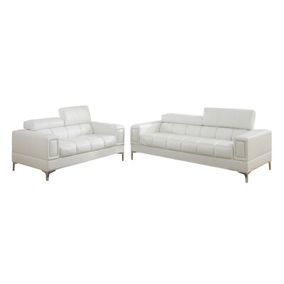 Lydia 2 Piece Sofa and Loveseat Set Upholstery: White