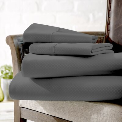 Crystal Double-Brushed Checkered Sheet Set Size: King, Color: Gray
