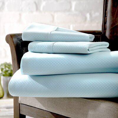 Crystal Double-Brushed Checkered Sheet Set Size: King, Color: Aqua
