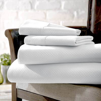 Crystal Double-Brushed Checkered Sheet Set Size: King, Color: White