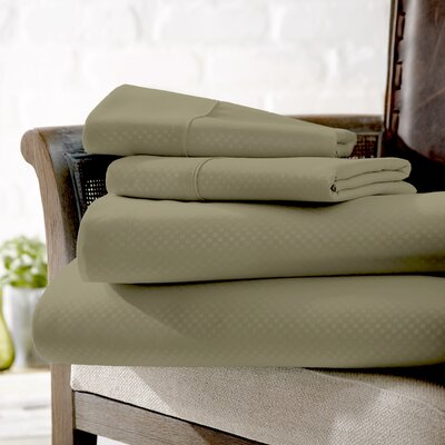 Crystal Double-Brushed Checkered Sheet Set Size: King, Color: Sage