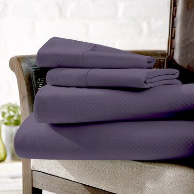 Crystal Double-Brushed Checkered Sheet Set Color: Purple, Size: Cali King